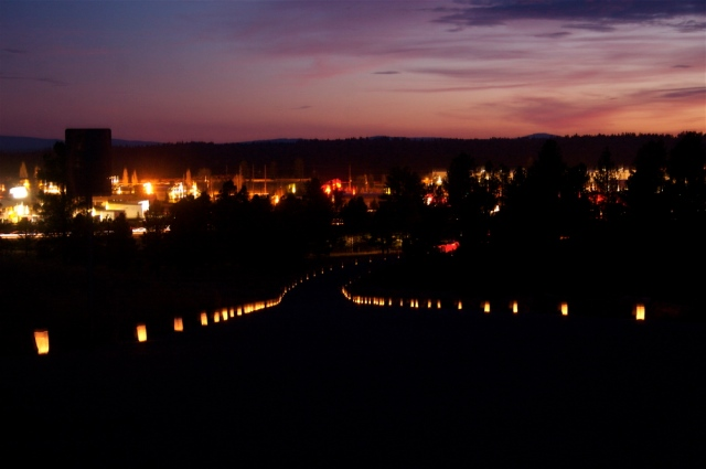 Nearly 400 luminarias were placed up the hill to St. Francis de Asis Catholic Church on Dec. 11, 2014 during the opening of the Feast of Our Lady of Guadalupe. The luminaries were set up and lit by Flagstaff Nuestras Raíces. Photo by Frank X. Moraga / AmigosNAZ ©2014