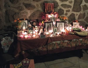 Click on the photo above to see a slideshow of the preparations and member's preview on Oct. 23 at the 12th annual Celebraciones de la Gente. Above, one of the nearly two-dozen altars / ofrendas in the courtyard at the Museum of Northern Arizona.